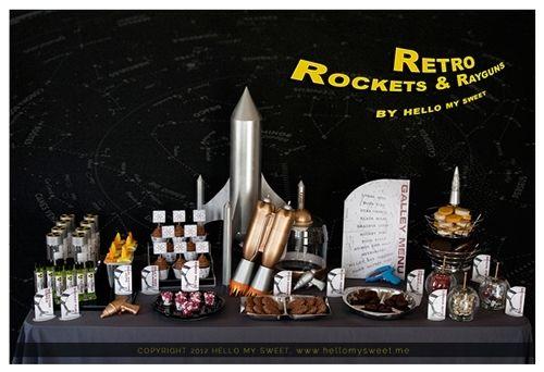 Rocket Party Display  BOys party ideas  www.spaceshipsandlaserbeams.com