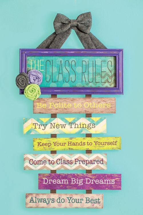 Who says class rules have to be boring? This classroom wall decor adds a decorative touch and a practical message!