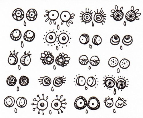 Doodle eyes. Great way to start your journal entry if nothing else comes to mind. Just doodle the eyes that express how you're feeling. :)
