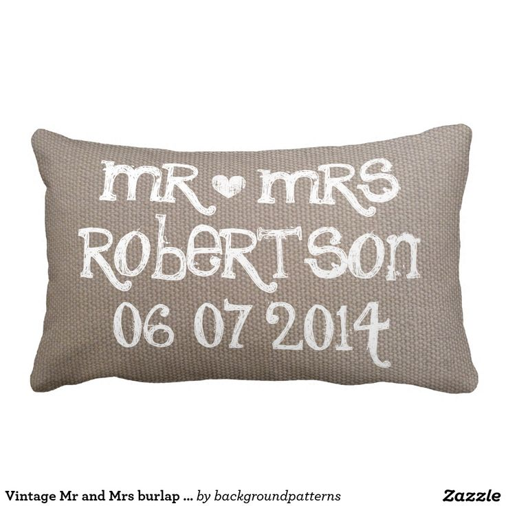 Vintage Mr and Mrs burlap lumbar wedding pillow Vintage Mr and Mrs burlap lumbar wedding pillow Personalized black chalk board pillow cushions for sofa or bed. Custom design with white heart and name of newly wed couple. Cute rustic home decor personalized for bride and groom / husband and wife. Romantic wedding presents for newlyweds.