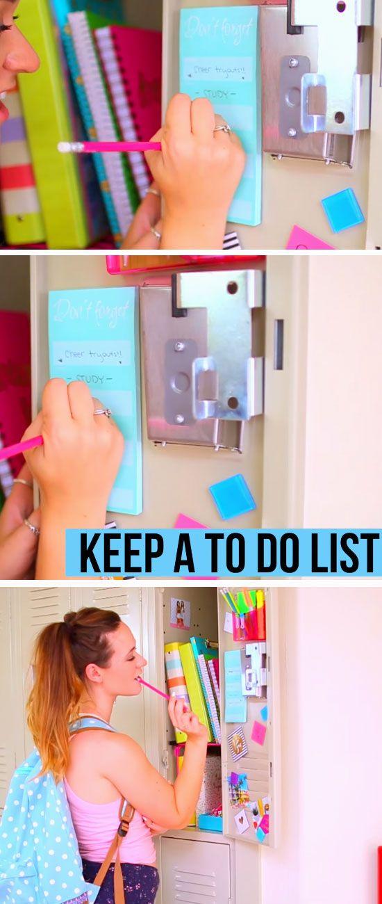 Keep a To Do List | 15 DIY Locker Organization for School Girls