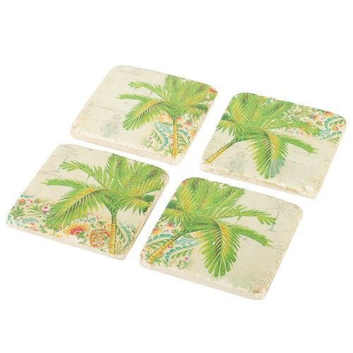 Resin Coaster Set of 4 - Palm - Products - 1825 interiors