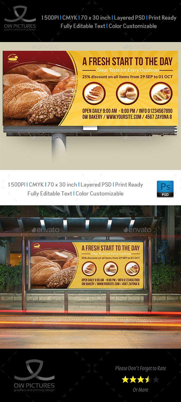Bakery Billboard Template Vol.2 — Photoshop PSD #market #corporate • Download ➝ https://graphicriver.net/item/bakery-billboard-template-vol2/19496990?ref=pxcr