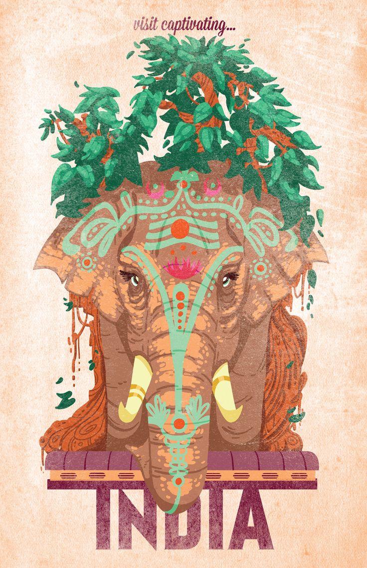 Cartel del viaje de la India