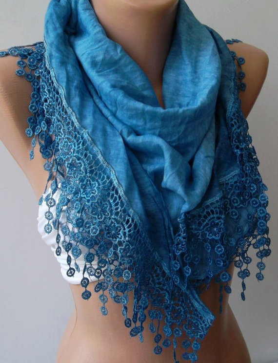 Blue / Elegance  Shawl / Scarf with Lacy Edge-------soft and light,,