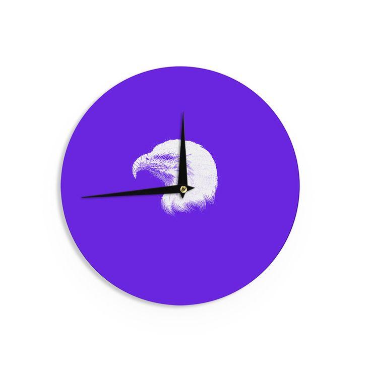 "BarmalisiRTB ""Blind And Silent"" White Purple Wall Clock"