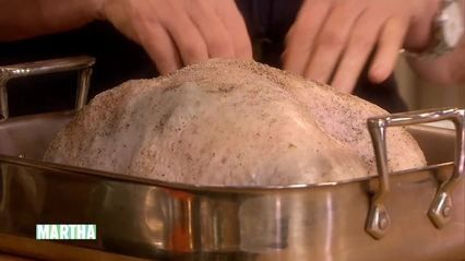 Martha Stewart and Emeril Lagasse show how to prepare turkey breast, an ideal-size bird for a smaller gathering. Emeril injects a brine mixture into the turkey, a technique popular in Louisiana, and makes a roasted-garlic rub for added flavor.
