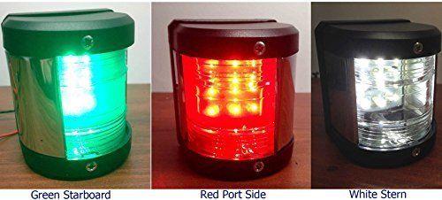 MARINE BOAT GREEN STARBOARD, RED PORT SIDE & STERN LED NAVIGATION LIGHT 3PC SET by TOTAL MARINE. MARINE BOAT GREEN STARBOARD, RED PORT SIDE & STERN LED NAVIGATION LIGHT 3PC SET.