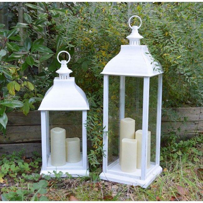 Small Lantern With Warm White Candles, White
