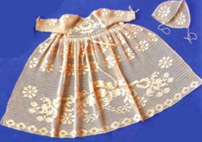 Платье для маленькой девочки из старого журнала. Выполнено в технике филейного вязания. Схемы-выкройки