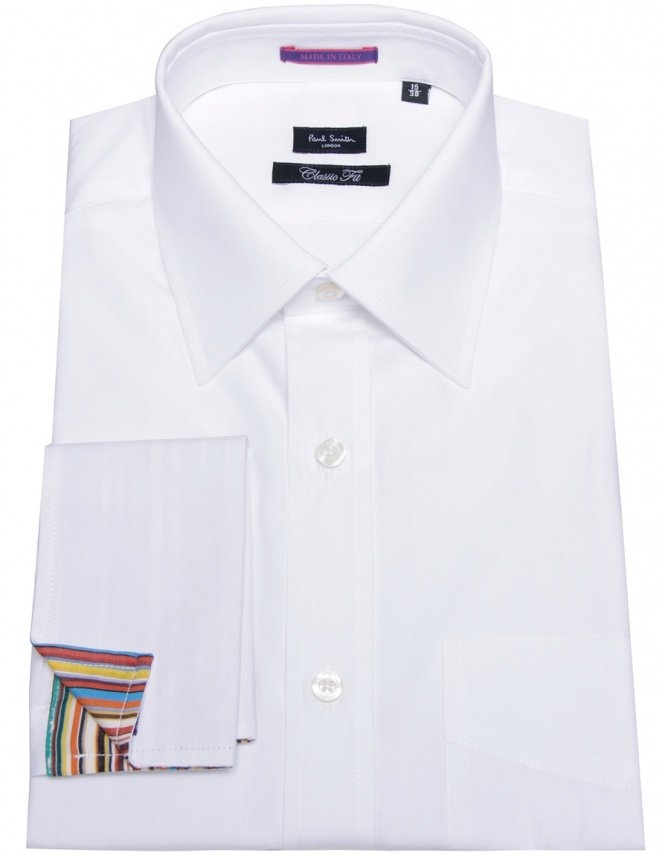 White Paul Smith London shirt with striped double cuff #mensfashion
