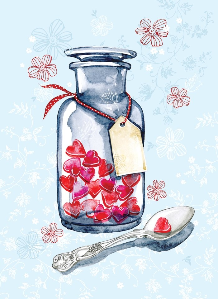 """This lovely card is called """"Spoonful of Love"""" - what better medicine could there be?    It would make a beautiful Valentine card, but also a lovely Get Well Soon Card for a loved one.  Like all  standard Phoenix cards it is blank, so you can use it for whatever occasion.  £1.75 or save 20% when you buy 10+ cards."""