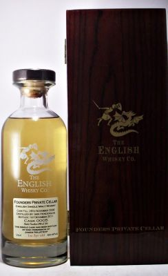 The English Whisky Co. 60.8%  A very rare bottle of Founders Private Cellar CASK 0005  Cask Fill; 26th November 2006 Distilled by : Iain Henderson Bottled      1st December 2011  Bottle Number : 090 of 104