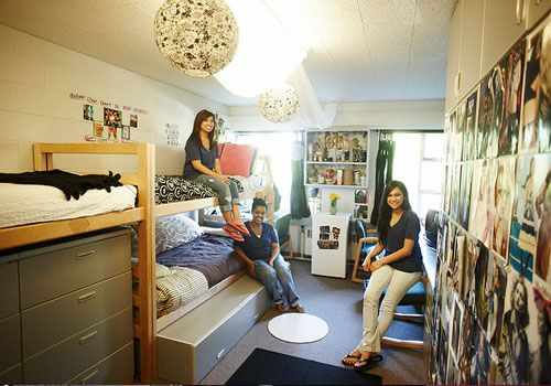 25 best ideas about triple dorm on pinterest dorm loft - Best dorm room ideas ...