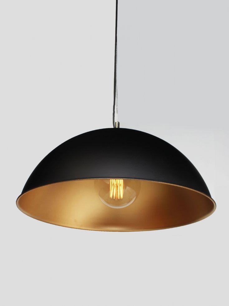 Matte black and gold spray dome pendant