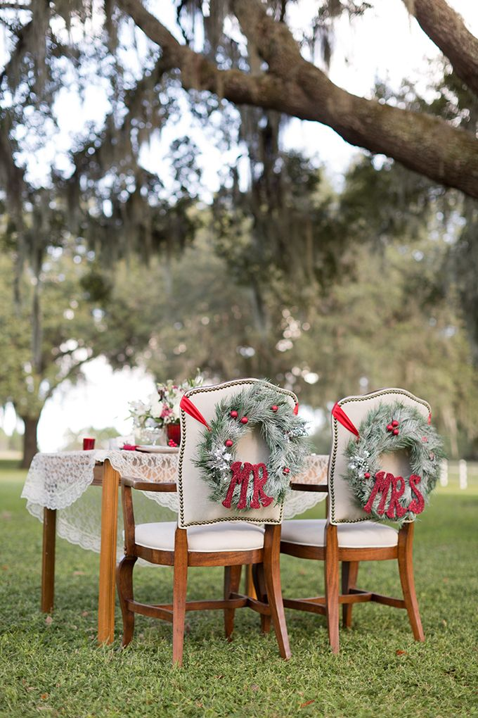 Mr and Mrs chair wreaths   Theresa NeSmith Photography   Glamour & Grace