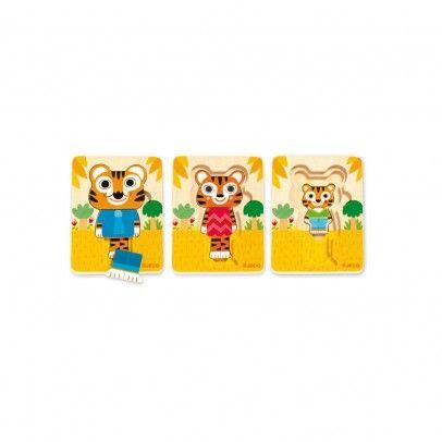 Puzzle 3 niveaux - Tigre Multicolore  Djeco