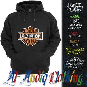 hoodie sweater jumper harley davidson logo 1 print rubber 1 sisi abu-abu / putih / hitam