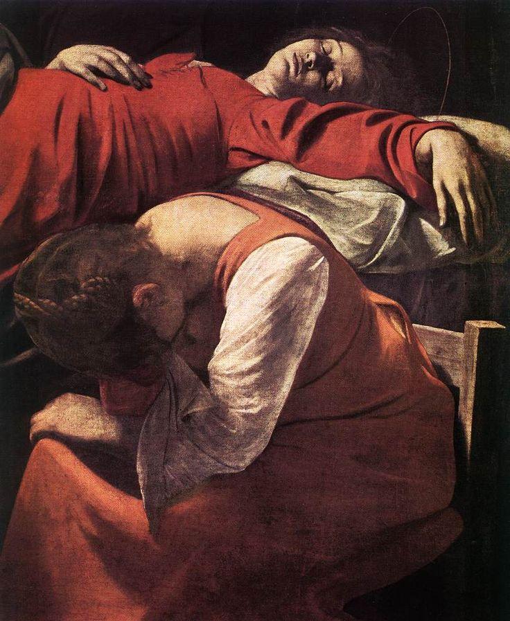 Morte della Vergine.  Oleo en tela. Louvre, Paris.  Decoración en la capilla de Santa Maria della Scala en Roma.