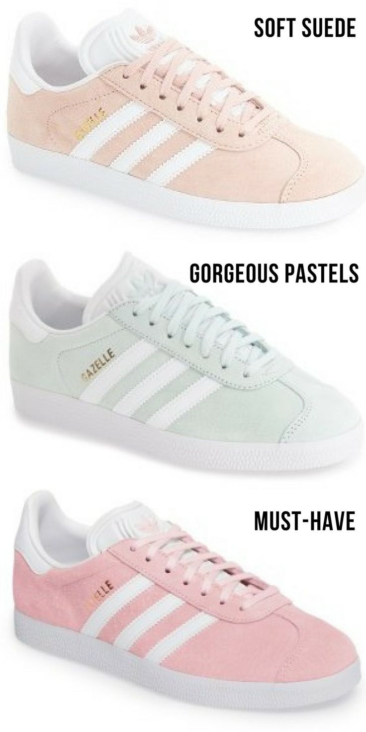 Classic Adidas Gazelle sneakers but with a suede-like soft leather and in pastel colors!    #pastel #style #suede #shoes #sneakers #trainers #adidas #cute #pink #style #affink