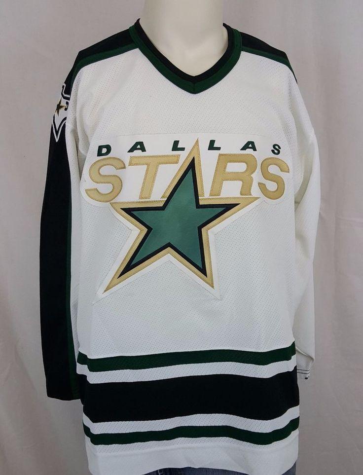 Dallas Stars Sweater NHL White Stitched Sewn CCM Hockey Jersey Size Large #nhl #stars #DallasStars