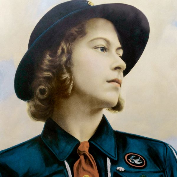 Queen E II as a girl guide - Nice presentation image for World Thinking Day England Board