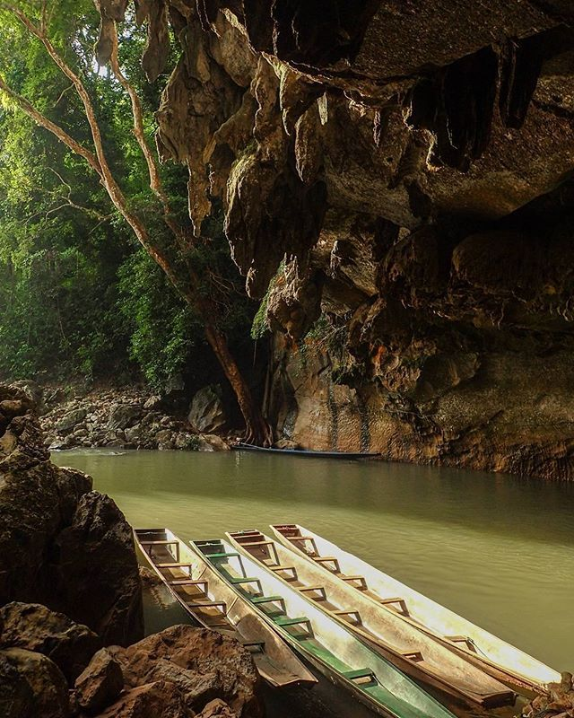 Kong Lor Caves, Laos Day: 50 Riding in these boats with our head torches through…