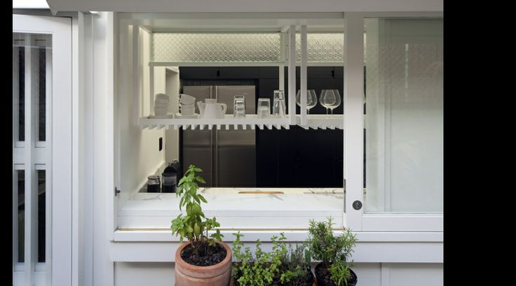 Etched Glassed, Exposed shelves, Bench Tops, white timber window frames, planter boxes...