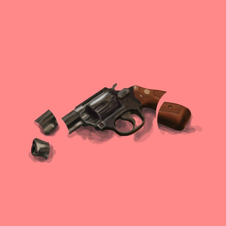 Illustration / Gun / Pistol / Glass / Fragile / Digital Art / Digital Painting / Minimalism / Illustration / Design / Concept / CD Cover / Album Cover