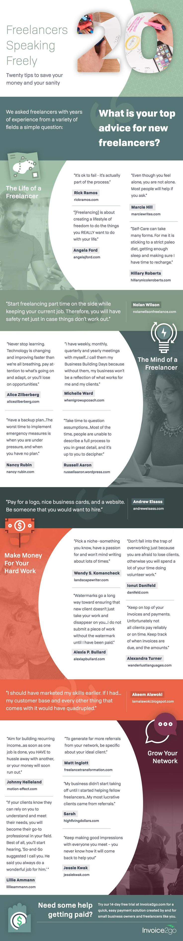 What if you knew these 20 advice when starting freelancing? 20 very insightful tips for new Freelancers on an infographic for you to harvest great advice. Consider this a modern stone-tablet of great knowledge - #freelancing #workfromhome…
