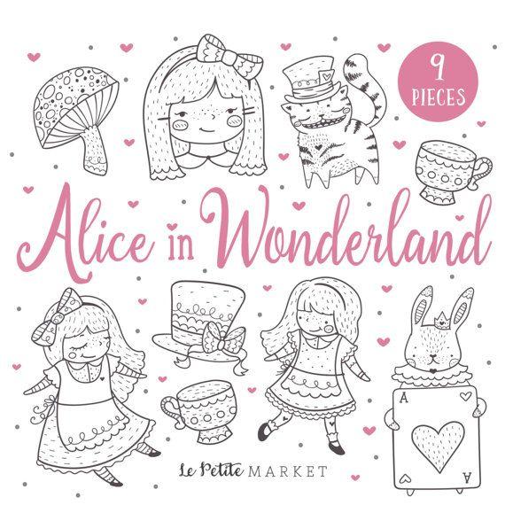 Alice au pays des merveilles Clip Art ensemble, les filles Clipart, clipart pour les filles, lapin chat du Cheshire, Tea Party Clip Art, timbres numériques, fête de printemps