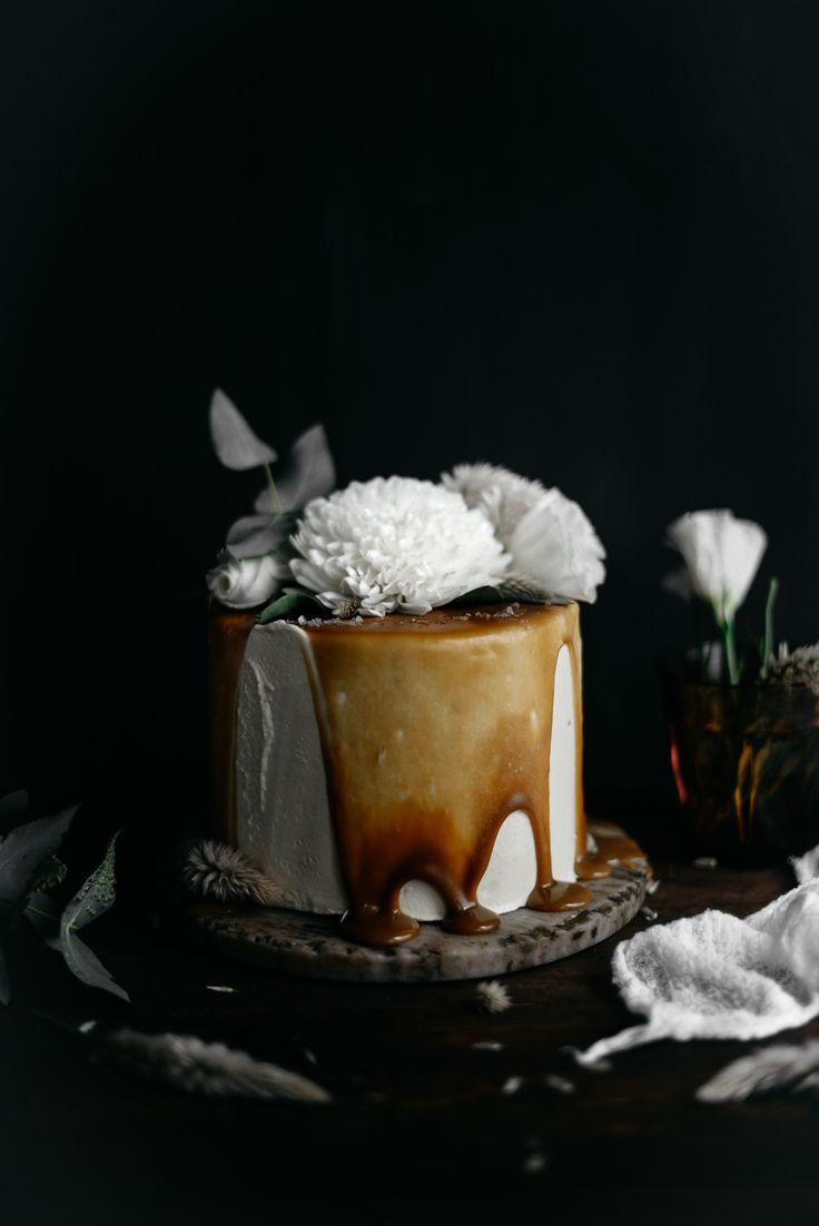 Italian Orange Blossom and Almond Cake with Orange Curd, Mascarpone Swiss Meringue Buttercream and Salted Caramel