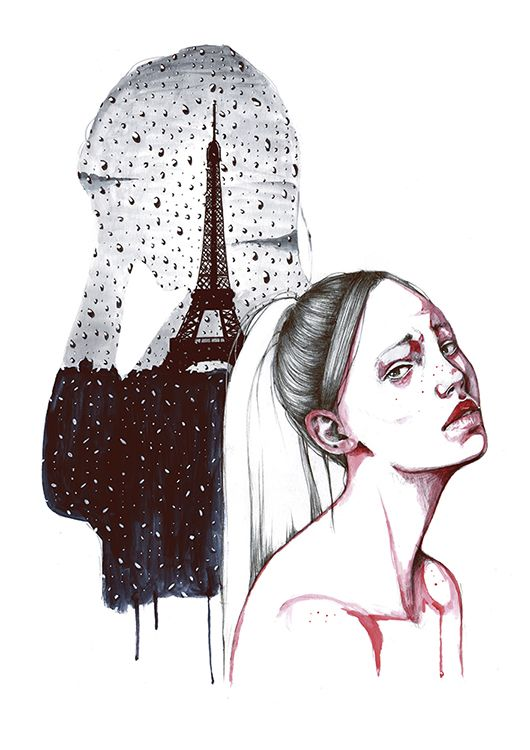 Soy de las que te echan de menos antes de que te vayas.  (Ilustración de Albert Soloviev - http://inkultmagazine.com/blog/albert-soloviev-y-las-chicas-tristes-ilustracion/)