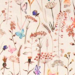 Voile mit Struktur, Weiß mit Blumen/Schm