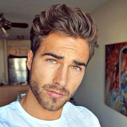 Messy Brushed Up Hair with Light Beard