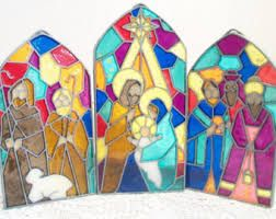 Imagini pentru stained glass nativity scene pattern