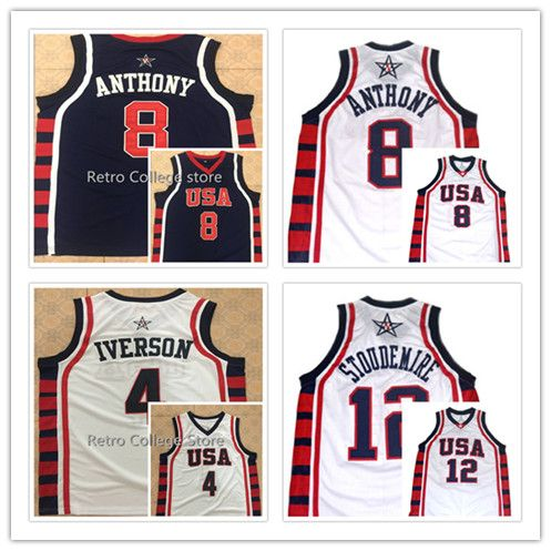 #8 Carmelo Anthony #4 Allen Iverson #12 Amare Stoudemire Team USA Basketball Jersey Vince Carter,Retro Men's Throwback Embroider #Affiliate