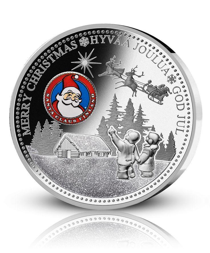 Lahjaidea: Hopeoitu Jouluraha timanttipölyllä + kotelo Jouluraha on toteutettu yhteistyössä Joulupukkisäätiön kanssa. Rahassa oleva hanki kimmeltää kauniisti aidon timanttipölyn ansiosta. Joulupukkisäätiön tunnuksena toimiva rakastettu punanuttu on ikuistettu rahaan upealla moniväritekniikalla. Osa rahan tuotosta ohjataan Joulupukkisäätiölle, joka käyttää varat hyväntekeväisyyteen.  #finnishsanta @finnishsanta  #joulu #joululahja