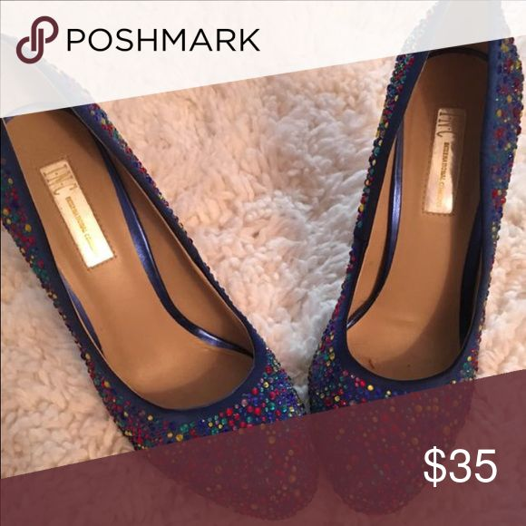 Blue Women's pumps with multicolored rhinestones. Pumps in excellent condition. Heel height approximately three inches. Worn twice. Size 8. INC International Concepts Shoes Platforms