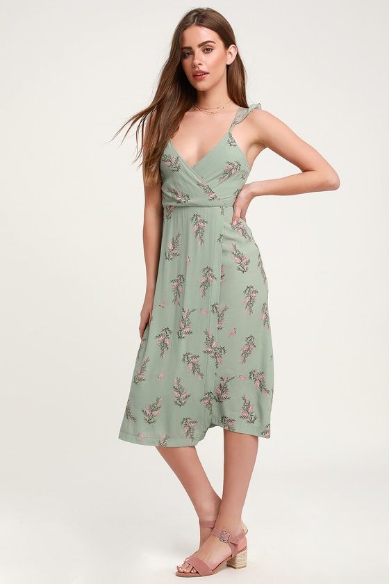 0e5f20fc64be The 4SI3NNA Coleen Sage Green Floral Print Surplice Midi Dress is a sweet  treat! Light and gauzy woven fabric, in a pink and dark green floral print,  ...