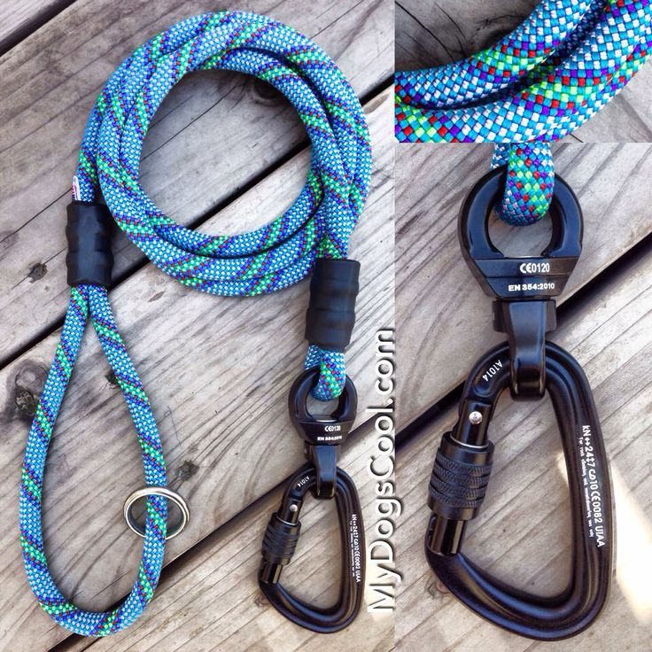 Top Gun Ultimate Dog Leash built with 10.5mm climbing rope, carabiner, and nanoSwivel. http://mydogscool.com/store/ultimate-climbing-rope-dog-leash/