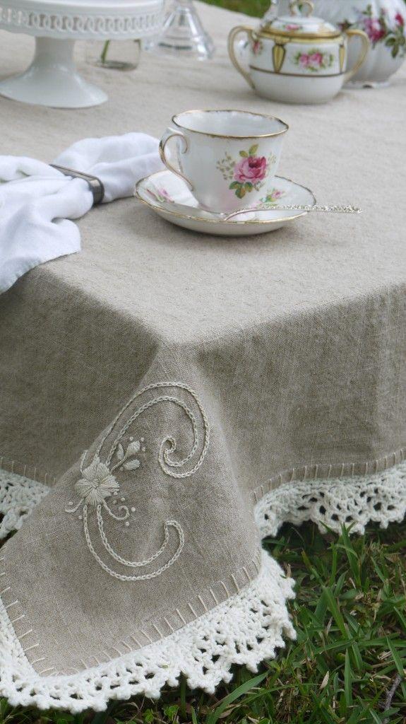 Crochet a trim onto a linen cloth. 3 different edge style tutorials.