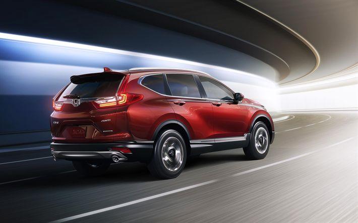 Télécharger fonds d'écran Honda CR-V, 2017, SUV, rouge CR-V, le nouveau CR-V, les voitures Japonaises, Honda