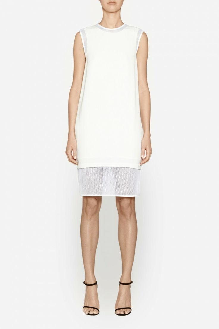 Camilla and Marc | AGENDA SHIFT DRESS  US$383.75 Double-layered shift dress with a white mesh underlay visible at the neckline, armhole and extended hemline. Features a round neckline, shift-style silhouette and invisible zipper fastening at the centre back.
