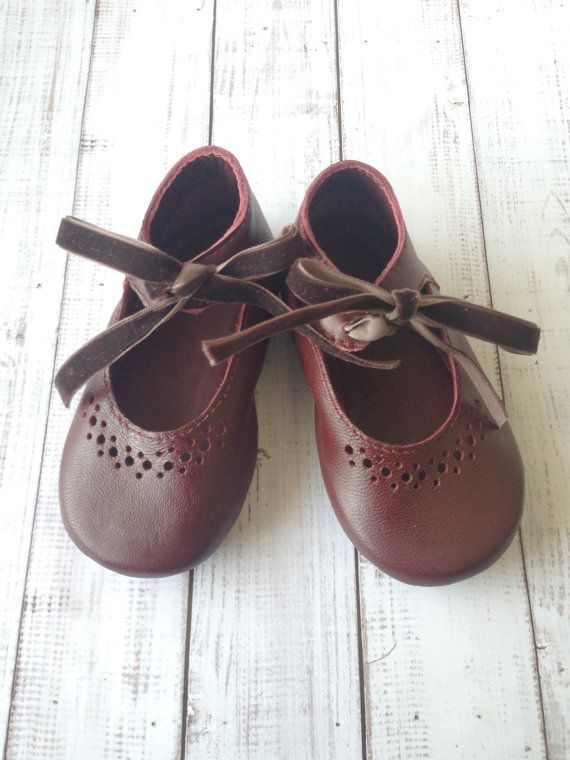 Vintage inspired ankle tie toddler shoes  Little girl by Huggabies