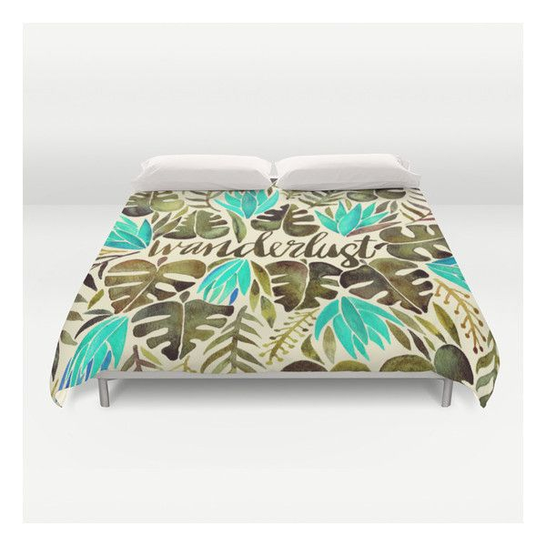 Tropical Wanderlust – Turquoise & Olive Duvet Cover (€120) ❤ liked on Polyvore featuring home, bed & bath, bedding, duvet covers, queen bedding, turquoise bedding, lightweight duvet insert, queen duvet insert and twin xl duvet