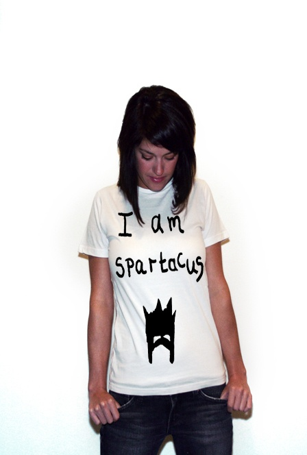 "I am Spartacus White T-shirt - titled ""Spartacus"" designed by BlackBrickRd aka me"
