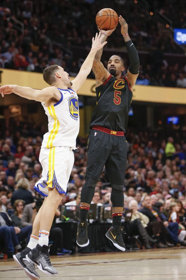731d013b4 JR Smith  5 of the Cleveland Cavaliers shoots the ball against Klay  Thompson  11 of the Golden State Warriors at Quicken Loans Arena on January  15