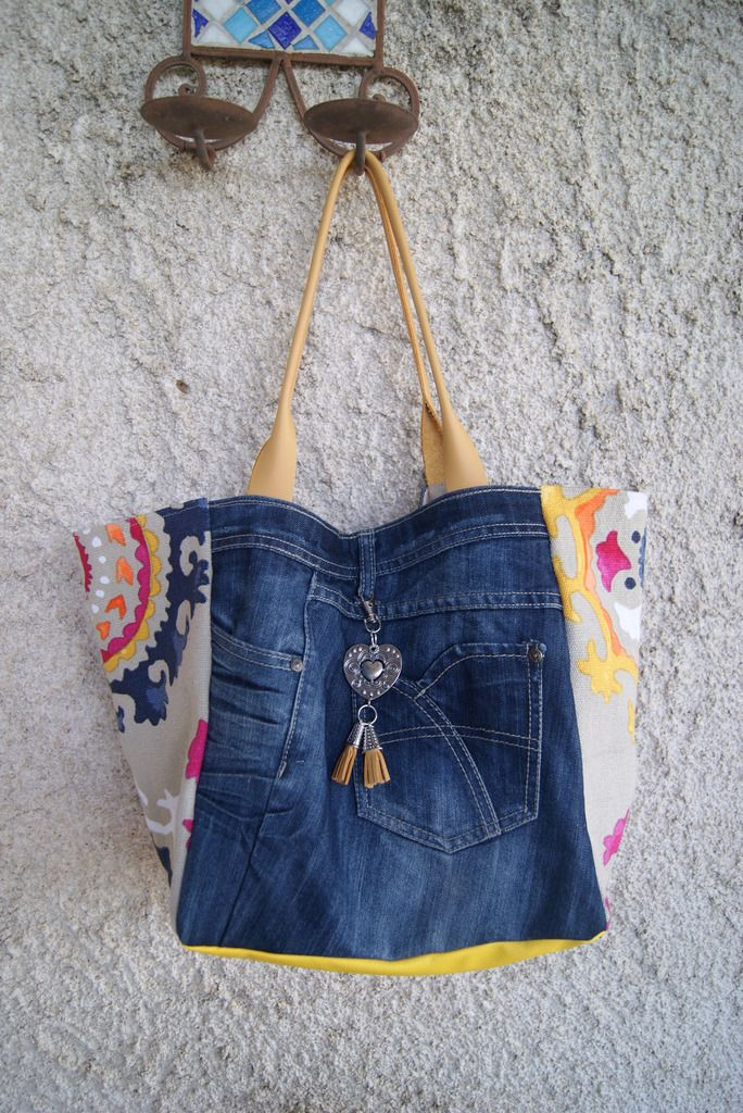 Sac cabas en jean et tissu mandala - Le blog de mumu