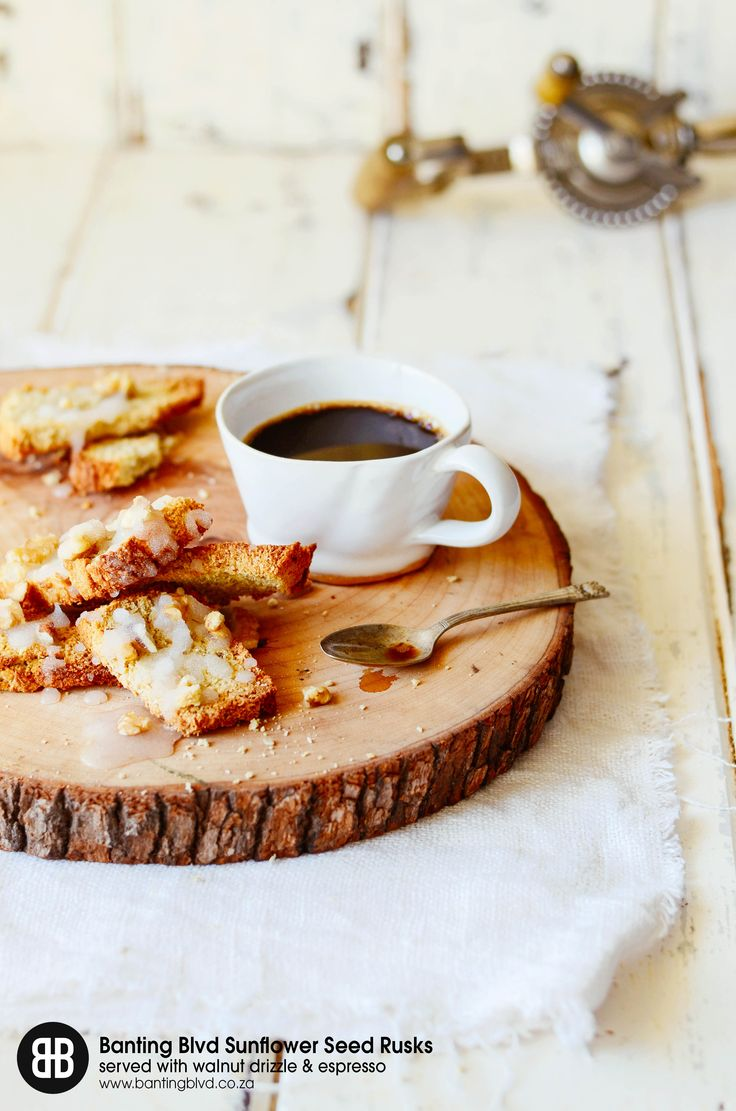 Banting Blvd's Sunflower Seed Rusk served with walnut drizzle and an espresso. Recipe available at www.bantingblvd.co.za or click on the image!